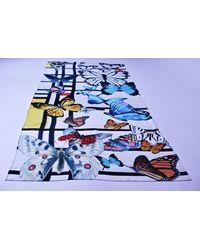 Etsy Butterflies Scarf; Silk Foulard; Mondrian Luxury Scarf Papillon Écharpe; Fine Art Collection; & Fashion; Pure - Blue