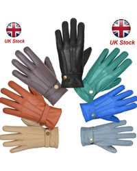 Etsy Leather Gloves Soft Lined Fleece Winter Warm Outdoor Walking New - Multicolour