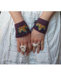 Etsy Purple Leaf Wrist Warmers Cuffs Upcycled Handmade Ooak Whimsical Faerie