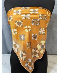 """Etsy Lovely Caramel Colour Made In Japan Polyester Scarf By Vera Neumann 23""""x 23"""" - Multicolour"""