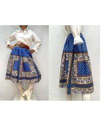Etsy 60S Vintage Provençal Cotton Prairie Skirt Jupe - Bleu