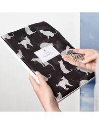 Etsy Cat Print Scarf & Magnetic Brooch - Black