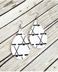 Etsy Leather Hockey Earrings - White