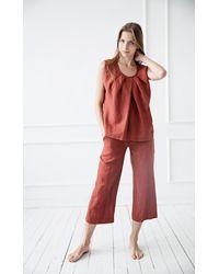 Etsy Pantalon Capri En Lin/ Culottes Lin Souples/ Pantalons Flax Soft / Loose Linen Pants/ Wide Washed Pants - Blanc