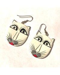 Etsy Vintage 1980s Paper Mache Long White Cat Face Dangle Earrings/unique Folk Art Mexican? Kitten Kitty Earrings/beautiful Felines