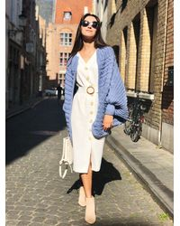 Etsy Blue Cardigan Chunky Knit Sweater Wool Coat Oversized Crochet Maxi - Blanc