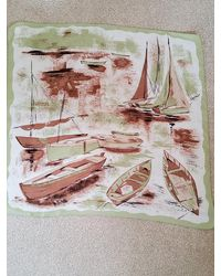 Etsy 1950s Pale Green & Beige Silk Scarf With Yachts Boats On