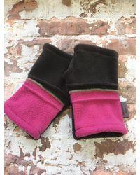 Etsy Hedkase Pink & Charcoal Fleece Hand-warmers Keypad Mitts Fingerless Gloves Handmade In U