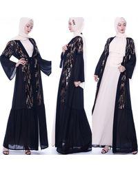 Etsy Elegant Modest Sequin Frill Hem Cardigan Duster Abaya Dubai Turkey Hijab Muslim Dress Long Length Maxi Belted Kimon - Blue