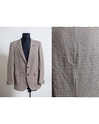 Etsy Vintage Wool Checked Houndstooth Pattern /Old School Hipster/ Brown Woven Jacket/Classic Gentleman Manteau De Laine - Marron