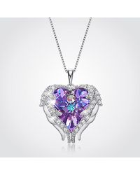 Etsy Valentines Purple Heart Swarovski Necklace
