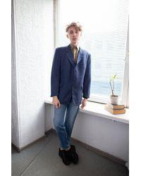 Etsy Blazer En Laine À Checked Bleu Vintage Des Années 80