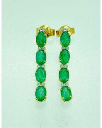 Etsy - 14k Emerald & Diamond Earrings/solid Yellow Gold May Birthstone Drop Wedding - Lyst