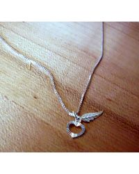 Etsy Heart & Feather Pendant Necklace Small Minimal Very Sweet In Solid Sterling Silver Ethical Sources - Metallic