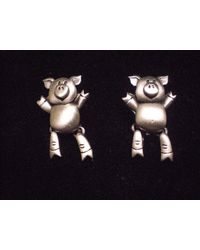 Etsy Jj Pewter Earings Cooooool Little Pigs With Moving Legs - Multicolor