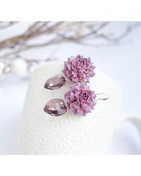 Etsy Purple Dahlia Flower Crystal Earrings