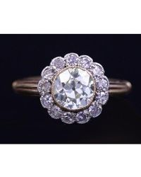 Etsy Engagement Ring Old Mine Cut 3 Carats Vintage Style Jewelry - Yellow