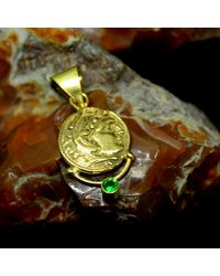 Etsy - Handmade Ancient Design Bronze Coin Pendant With Emerald 24k Gold Over 925k Sterling Solid Silver Roman Designer Jewelry - Lyst