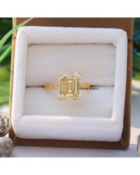 Etsy 5.00 Ct Emerald Cut Moissanite, Yellow Color Moissanite Wedding Ring, Engagement Ring In 14kt Gold, Hidden Halo For Gift