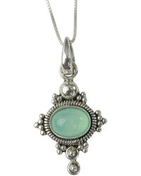 Etsy Chrysoprase 8x6mm Cabochon Sterling Silver Necklace Pendant - Metallic