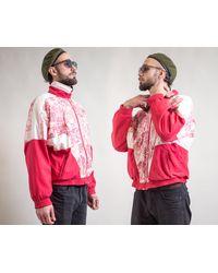 Etsy Veste De Course Vintage s Années 80 90 Trie Zip Front Pink Color Blocked Jacket Wind Breaker/ - Blanc