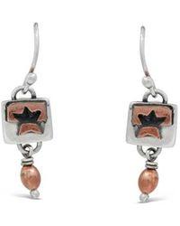Far Fetched Sterling Silver /& Copper Hammered Small Teardrop Dangle Earrings