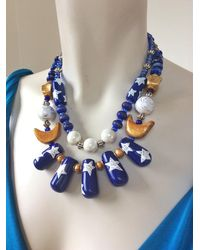 Etsy Moon & Stars Statement Necklace/celestial Jewelry Blue Gold Unique Star Beaded
