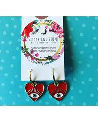Etsy Red Heart Evil Eye Earrings