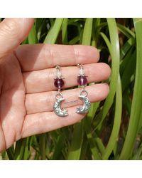 Etsy Amethyst Crystal Moon & Stars Silver Earrings Boho Hippie Artisan February Birthstone Jewelry - Metallic