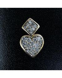 Etsy 10k Two Tone Gold Diamond Heart Pendant - Metallic