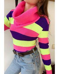 Etsy Vintage 60S Mod Multicolor Neon Striped Knit Rollneck Jumper Woman Ladies Bright Color Colorful Rave Rare Sweater Pullove - Multicolore