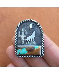 Etsy Wolf Pendant With Turquoise - Blue