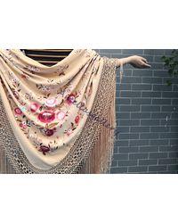 Etsy Hand Embroidered Spanish Silk Flamenco Bridal Wedding Piano Shawl - Multicolour