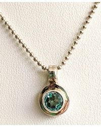 Etsy Ladies Sterling Silver Small Round Blue Stone Pendant Necklace