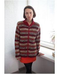 Etsy Vintage 70's Striped Wool High Collar Cardigan - Multicolore