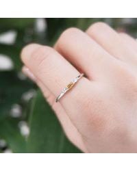 Etsy - Solid 14k Gold Yellow Sapphire Ring Baguette 925 Sterling Silver Dainty Stackable - Lyst