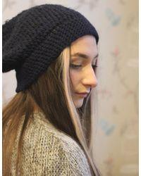 Etsy Black Beanie Hat Crochet & Hand Knit Kathy
