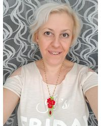 Etsy Read The Announcement Bead Embroidery Necklace Handmade May Spring Refreshment Gift For - Red