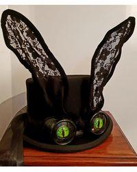 Etsy Evil Bunny Top Hat 100% Wool Steampunk Black Goggles Green Eyes Rabbit Ears Halloween Burning Man Festivals Cosplay