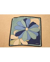 Etsy 1950's Jodhpur Small Silk Square Scarf - Blue