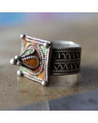 Etsy Old Moroccan Berber Enameled Ring - Metallic