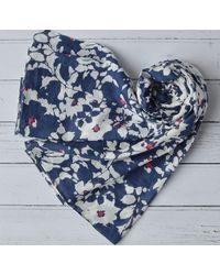 Etsy Organic Cotton Scarf Large Blue & White Abstract Floral Design Wrap