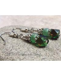 Etsy Green Beaded Dangle Earrings