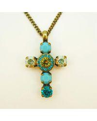 Etsy Teal Lime Swarovski Cross Necklace Aqua Turquoise Blue Pendant Green 7mm Crystal Rhinestones