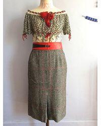 Etsy Jupe Vintage En Tweed Jupe Droite Laine Midi 1970S 70S Mi Mollet Pied De Poule Cachemire Poule - Blanc