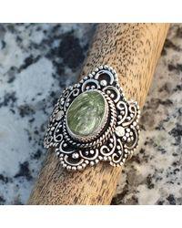 Etsy Seraphinite Natural Gemstone 925 Solid Sterling Silver Handmade Ring - Metallic