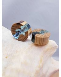 Etsy Pair Wood Resin Organic Plugs Gauge Double Flare Stretchers - Brown