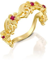 Etsy 14k Yellow Gold Eternity Wedding Ring Set With Ruby