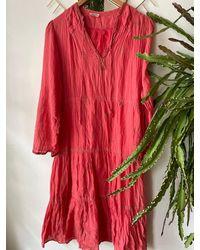 Etsy Robe En Coton Indien Corail Vintage Des Années 70 - Rouge