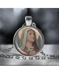 Hildegard von Bingen Catholic Reclaimed Domino Necklace Patron of Musicians St Writers H1